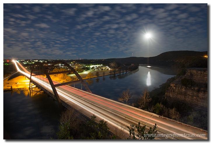 Austin images - Full Moon Setting over the 360 Bridge